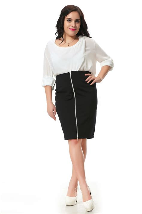 plus size skirt with zip decoration in front pencil