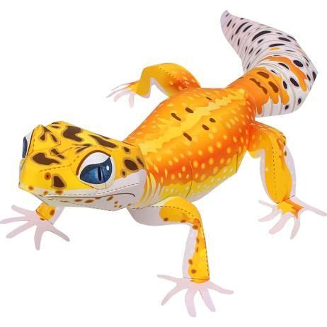canon papercraft animal paper model leopard gecko free