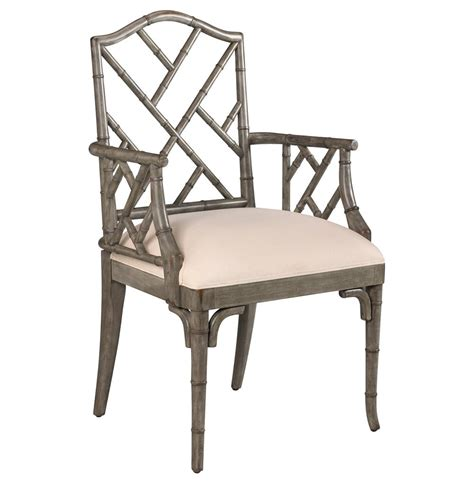 chinese chippendale hollywood regency grey bamboo dining arm chair