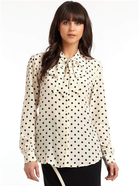 Polka Dot Blouse With Tie polka dot tie neck blouse blue denim blouses