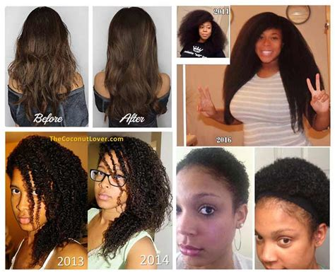 before snd after picture of hair growth in eonen coconut oil for african american hair growth black