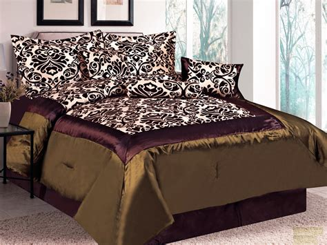 7 pc damask floral flocking satin comforter set brown