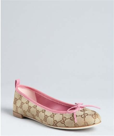 Flat Shoes Ballerina Canvas Gucci 7311 Semprem gucci beige and pink gg canvas ali bow detail ballet flats in beige lyst