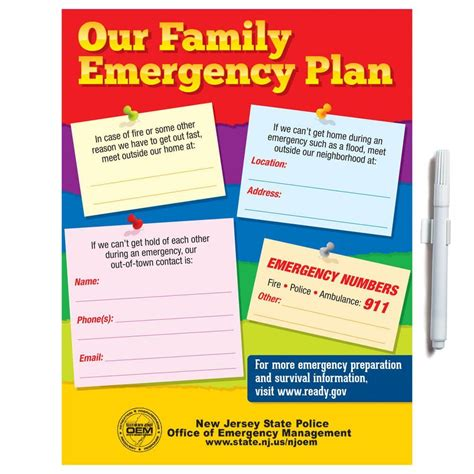 home safety plan our family emergency plan dry erase board wipe off