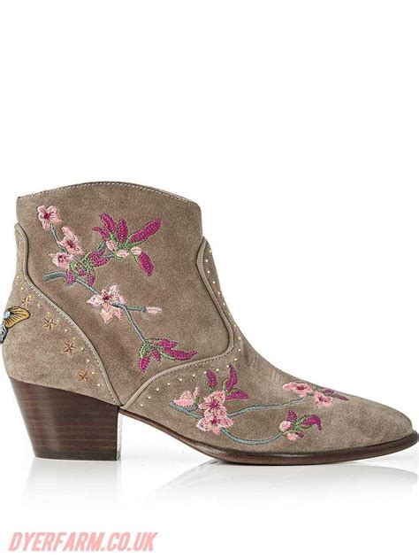 embroidered boots womens ash boots ash heidi embroidered suede ankle