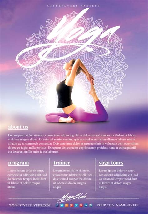 templates for yoga flyers yoga gym free flyer template download flyer templates