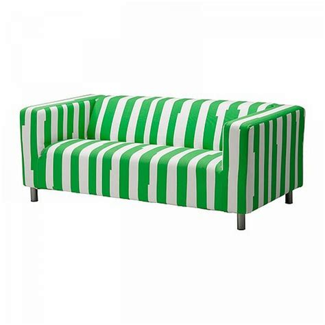 green and white striped couch ikea klippan loveseat sofa slipcover cover ranten green