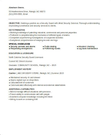 Entry Level Officer Resume Templates by Sle Security Officer Resume 8 Exles In Word Pdf