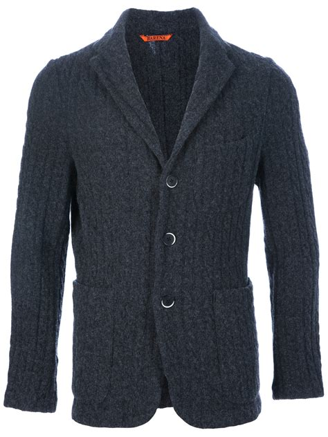 grey knit blazer barena knit blazer in gray for lyst