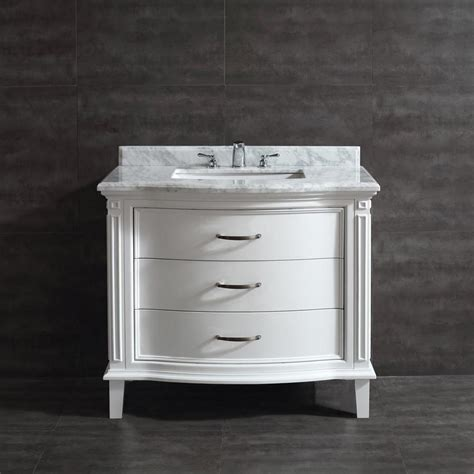 Marble Top Bathroom Vanity by Shop Ove Decors 40 0 In White Undermount Single Sink Bathroom Vanity With Marble