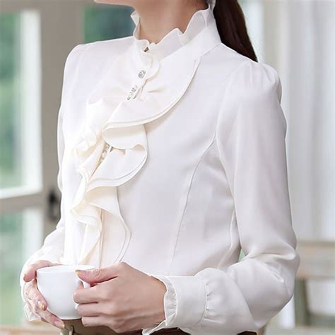 Kemeja Atasan Ruffle Bordir fitinline 7 item modis untuk wanita bekerja