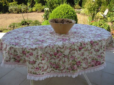 Shabby Chic Pink Floral Round Tablecloth Duck Linen Pink Shabby Chic Table Cloth