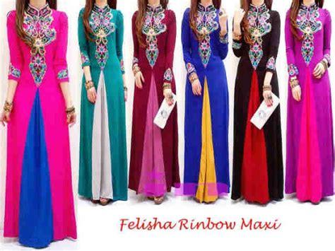 Gamis Felisa felisha rinbow maxi dari farra bajumurmeronline di pakaian