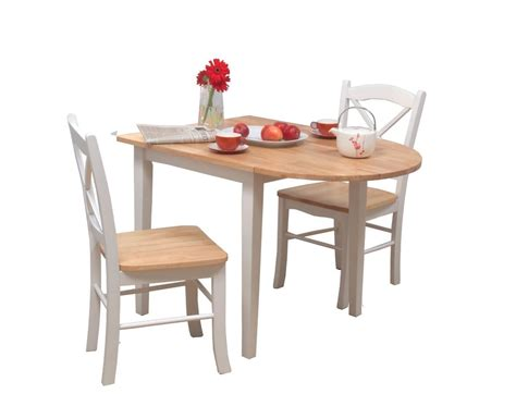 3 Piece Dining Set White Small Drop Leaf Kitchen Table Table And Chair Sets For Kitchen