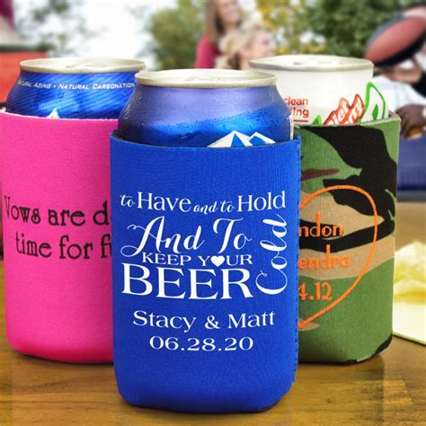 Custom Printed Neoprene Beer Can Wedding Koozies