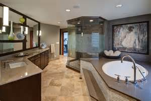 spacious master bathroom with step up tub and glass shower