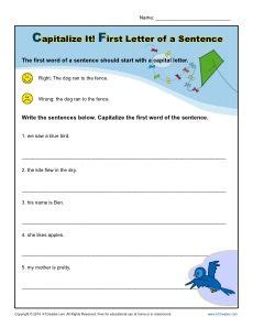 kindergarten capitalization worksheet first letter of a