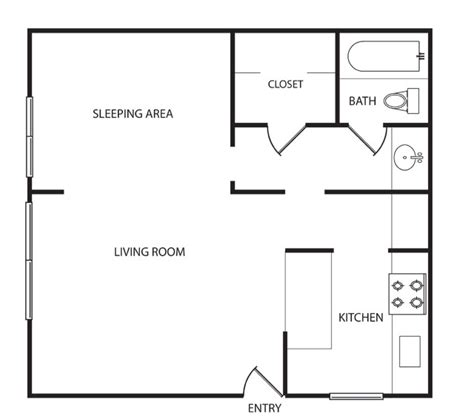 600 Square Foot Apartment Floor Plan | 600 sq ft studio 600 sq ft apartment floor plan 600