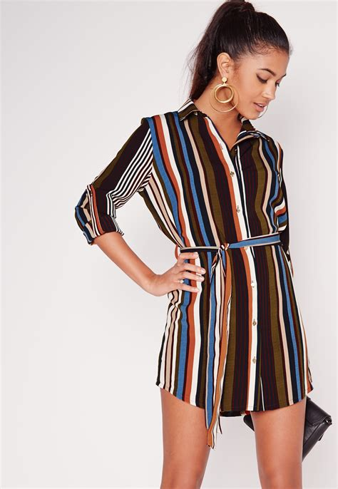 Sleeve Tie Waist Shirt lyst missguided sleeve tie waist stripe shirt dress