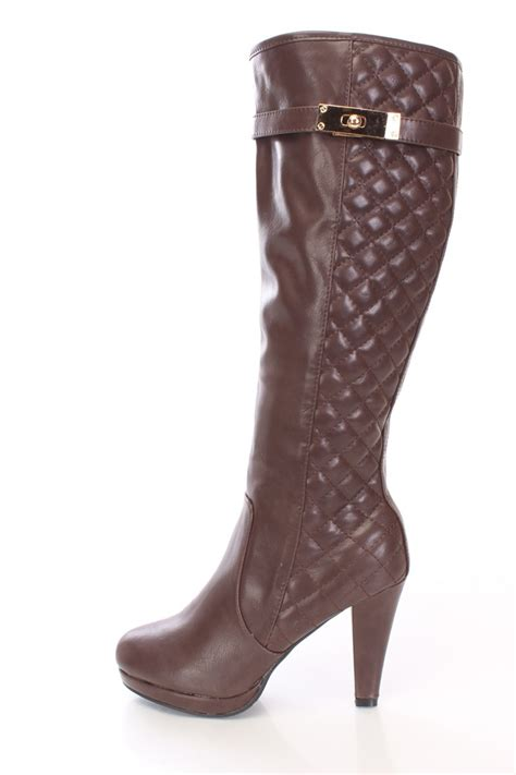 high heel brown leather boots brown quilted knee high heel boots faux leather