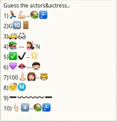 guess actress name whatsapp quiz guess the actor and actresses name from whatsapp emoticons