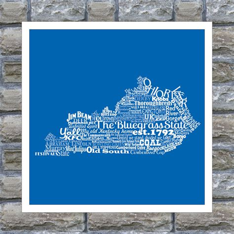 kentucky state word art typography print the bluegrass state