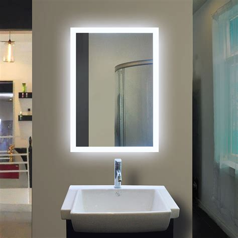 backlit bathroom mirrors backlit bathroom mirror rectangle 40 x 24 in by paris