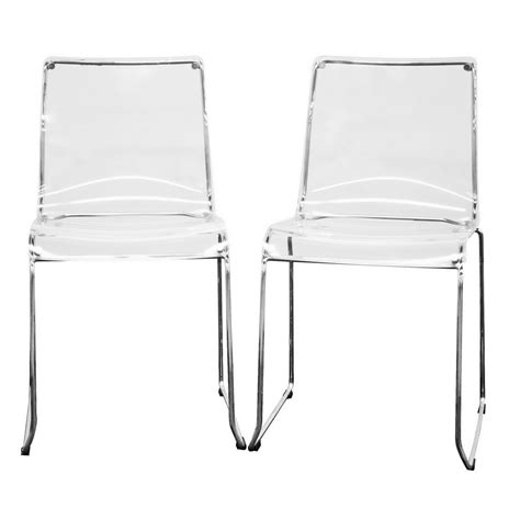 Acrylic Dining Chairs Baxton Studio Lino Transparent Clear Acrylic Dining Chair