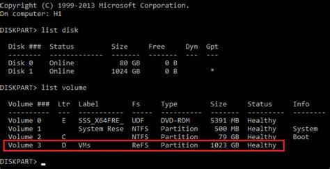 diskpart format refs add local storage in windows server 2016 hyper v