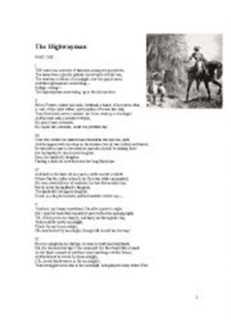 printable version of the highwayman 28 the highwayman worksheet the highwayman images