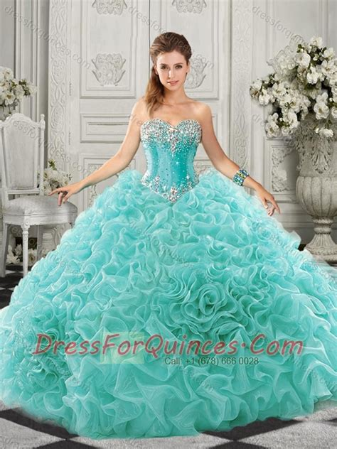 pretty really aqua blue quinceanera dress with