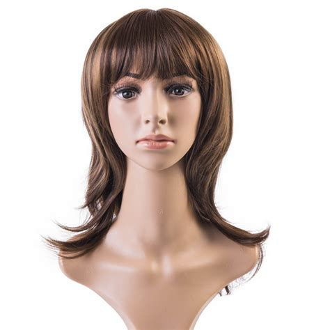 highlights for brown hair for women in 55 soloowigs natural wavy light brown highlight full bang