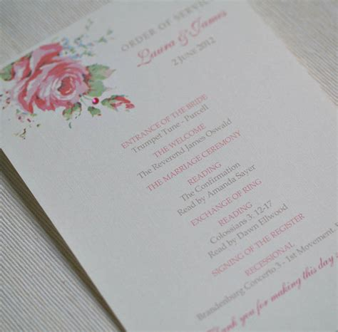 layout of a wedding order of service english rose design wedding order of service by beautiful