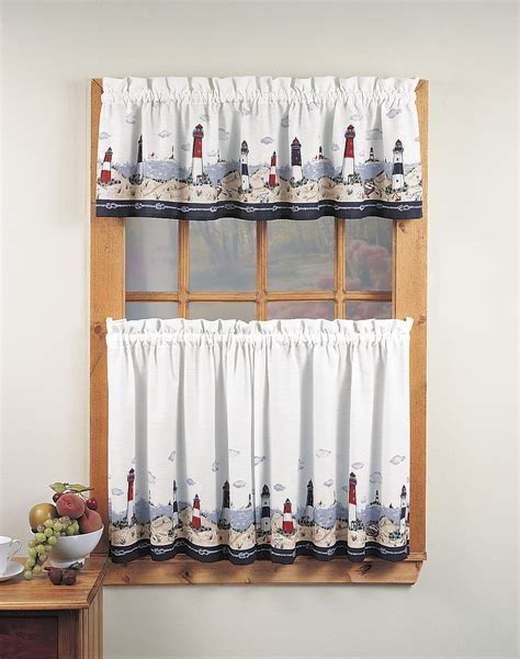 lighthouse 3 kitchen curtain tier set curtainworks