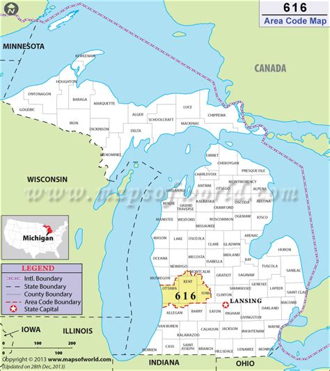 usa map with area codes 616 area code map where is 616 area code in michigan