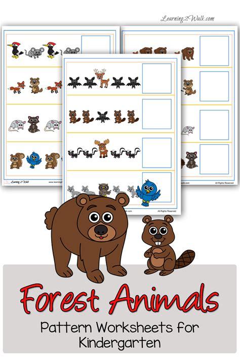animal pattern worksheets for kindergarten free forest animals patter worksheets for kindergarten