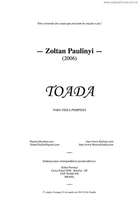 Super Partituras - Toada (Zoltan Paulinyi), com cifra