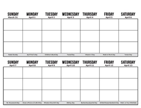 free two week calendar template | calendar template 2018