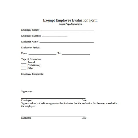 employee evaluation form template 41 sle employee evaluation forms to sle