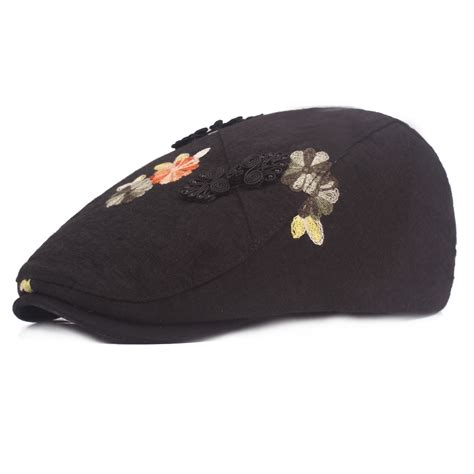 Embroidered Beret Hat women s cotton embroidered beret caps cool outdoor visor