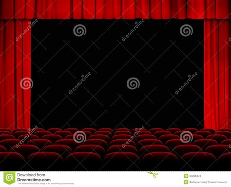 Red Fabric Armchair Theater Auditorium With Stage Curtains And Seats Royalty