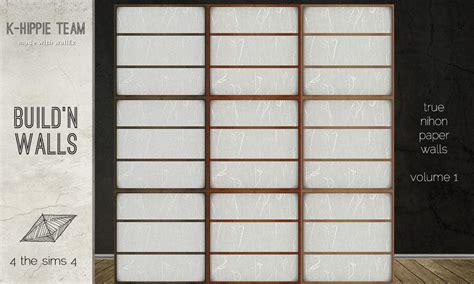 rice paper wall l mod the sims nihon set rice paper walls wood floors
