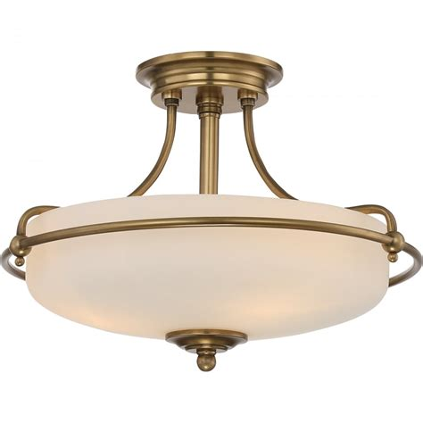 Semi Flush Glass Ceiling Light Weathered Brass Semi Flush Ceiling Light With Opal Glass