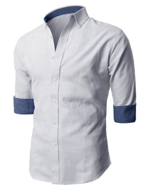 Gfp Casual Formal Shirts Slim Fit Katun Abu Lng 1643 h2h mens casual slim fit button shirts with 3 4 sleeve foldup cuff trim white us s asia m