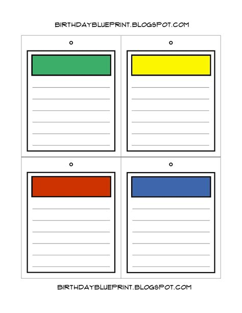 free board templates birthday blueprint board