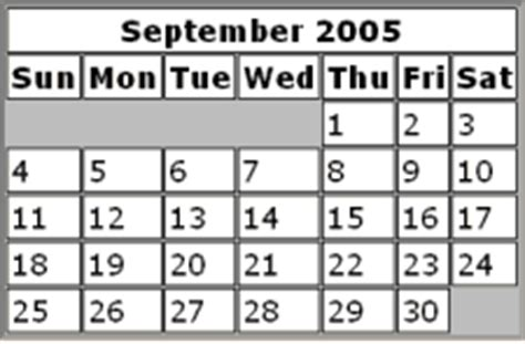 September 2005 Calendar 2005 Calendars Free Getbet