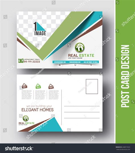Real Estate Postcard Design Vector Template Stock Vector 268815923 Shutterstock Postcard Design Template