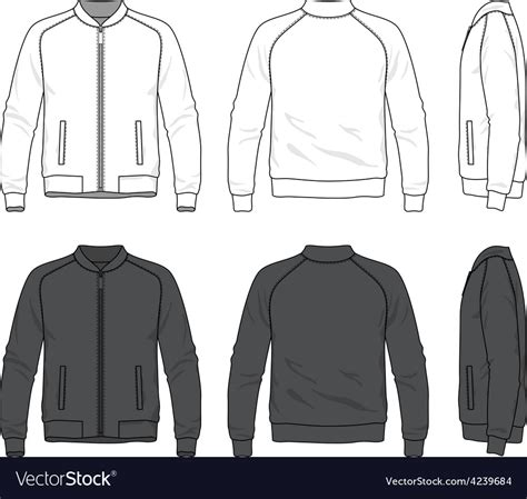 jacket layout vector blank bomber jacket with zipper royalty free vector image