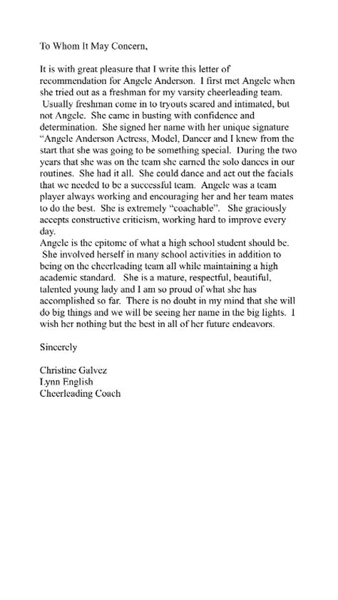 Scholarship Letter Of Recommendation From Coach College Recommendation Letter From Cheer Coach Cover Letter Templates