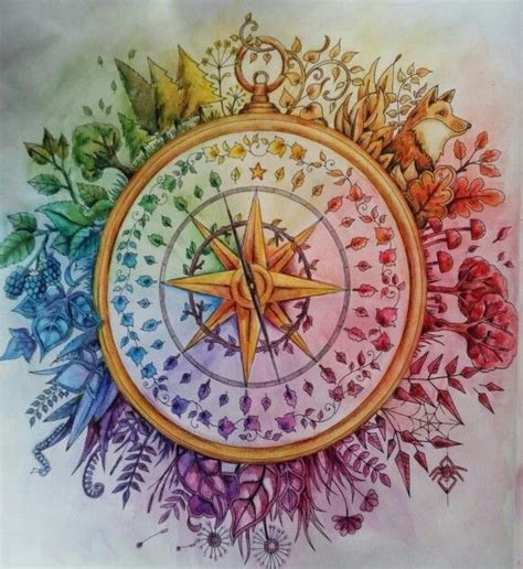 enchanted forest colored enchanted forest compass coloured using inktense pencils